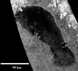 """Titan's """"Footprint"""": Ontario Lacus, Credit: NASA / JPL-Caltech / ASI"""