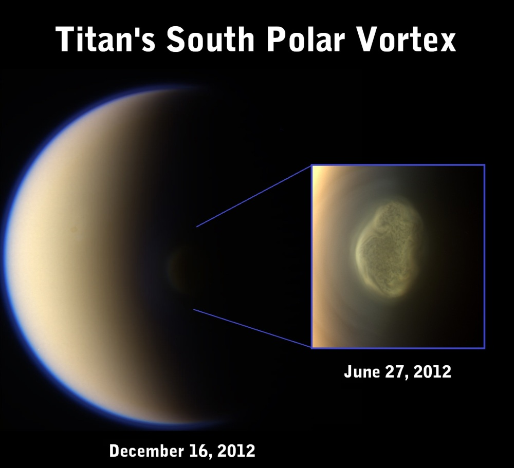 Titan's South Polar Vortex Credit: NASA/JPL/SSI/ composite & compilation by Val Klavans
