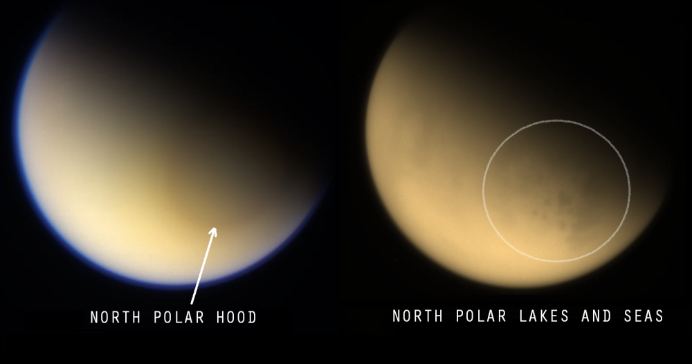 Staring down on Titan's north pole (above and below the atmosphere) NASA / JPL / SSI / Val Klavans